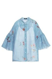 Блузка из шелка и льна с цветочным принтом Alena Akhmadullina