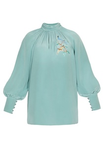 Шелковая блузка с вышитыми птицами Alena Akhmadullina