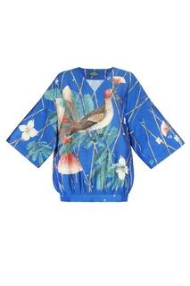 Синяя шелковая блузка с цветами и птицей Alena Akhmadullina