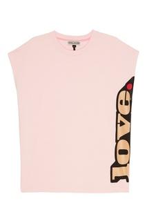 Розовая футболка с принтом сбоку Marc Jacobs
