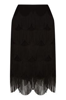 Черная юбка-миди с ярусной бахромой Marc Jacobs