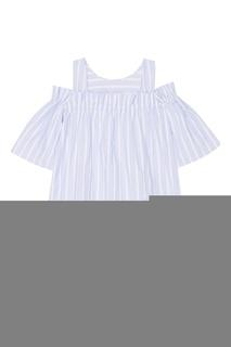Хлопковая голубая блузка в полоску Paul & Joe Sister
