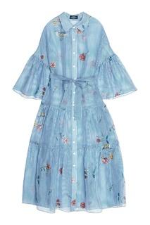 Платье-миди из шелка и льна с принтом Alena Akhmadullina