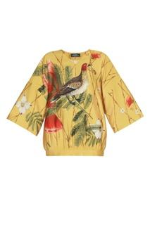 Желтая шелковая блузка с цветами и птицей Alena Akhmadullina