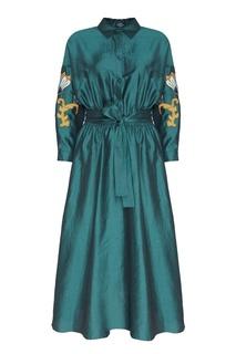 Платье с вышивкой на рукавах Alena Akhmadullina