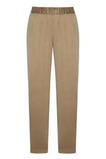 Однотонные бежевые брюки из шелка Alena Akhmadullina