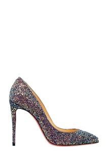 Фиолетовые туфли с глиттером Pigalle Folles 100 Christian Louboutin