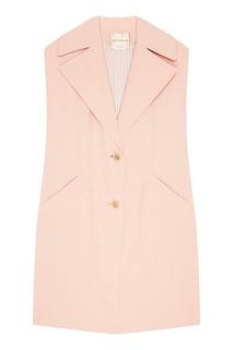 Удлиненный розовый жилет Erika Cavallini