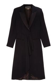 Длинное черное пальто Alberta Ferretti