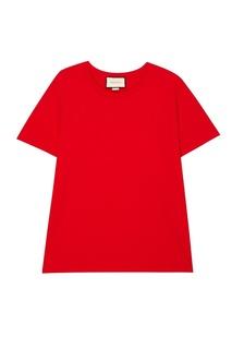 Красная хлопковая футболка Gucci