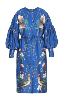 Платье из текстурированного шелка с принтом Alena Akhmadullina