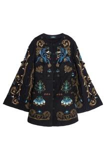 Шерстяное пальто с объемной вышивкой Alena Akhmadullina