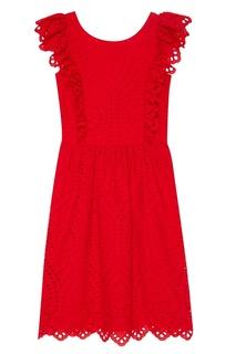Красное платье из вышитого хлопка Paul & Joe Sister