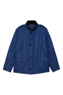 Синяя стеганая куртка с карманами Hugo Boss