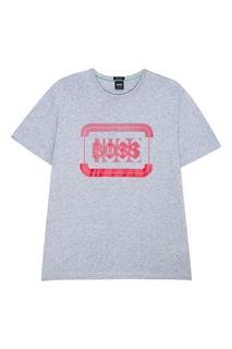 Серая меланжевая футболка с логотипом Boss Green