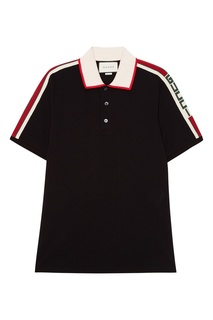 Черная хлопковая футболка-поло с логотипом Gucci