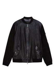 Куртка-бомбер из кожи и замши Hugo Boss