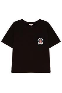 Черная футболка с аппликацией на кармане Constance. C