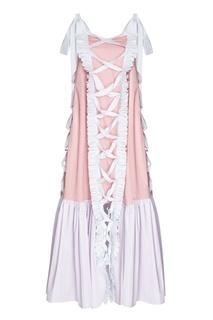 Платье-миди из комбинированного хлопка Alena Akhmadullina