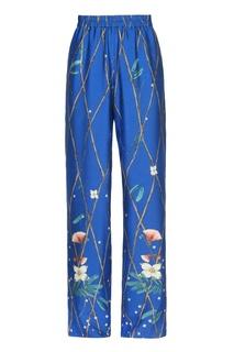 Синие брюки из шелка с принтом Alena Akhmadullina