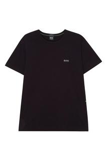 Черная хлопковая футболка с логотипом Boss Green