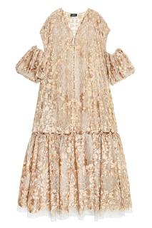 Платье из шелка с золотистой вышивкой Alena Akhmadullina