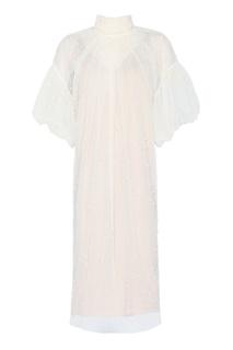 Платье из бежевой сетки с жемчужинами Alena Akhmadullina