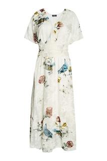 Белое платье с цветами и птицами Alena Akhmadullina