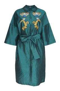 Платье из шелка и льна с вышивкой Alena Akhmadullina