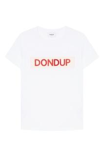 Белая футболка с аппликацией Dondup