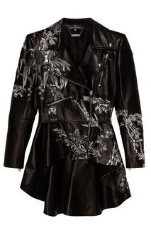 Кожаная куртка с цветочной вышивкой Alexander Mc Queen