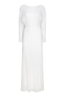 Белое платье-макси с бисером Alexander Terekhov