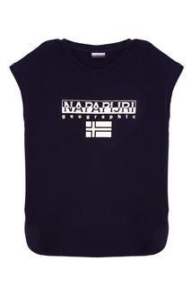 Черная футболка с блестящим логотипом Napapijri