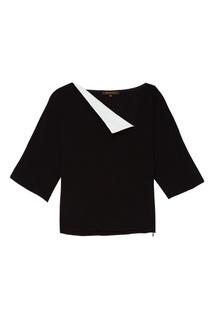 Черная блузка с белой деталью Adolfo Dominguez