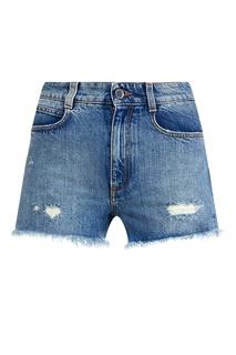 Джинсовые шорты-мини с бахромой Stella Mc Cartney