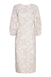Хлопковое платье-миди с принтом A LA Russe
