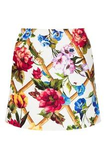 Юбка-мини из жаккарда с принтом Dolce & Gabbana
