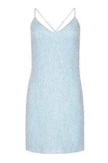 Голубое платье-мини с бисером Alexander Terekhov