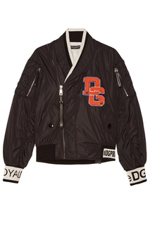 Черная куртка-бомбер с логотипом Dolce & Gabbana