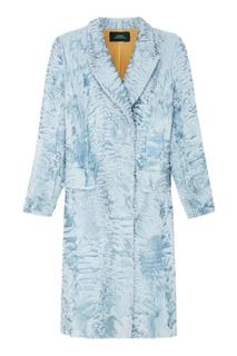 Пальто из каракульчи светло-голубого цвета Alena Akhmadullina
