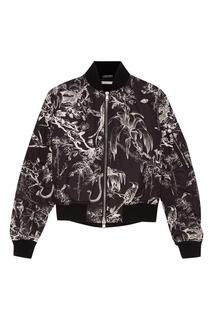Черная куртка-бомбер с контрастным принтом Alexander Mc Queen