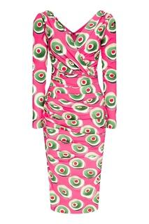 Шелковое платье с ярким принтом Dolce & Gabbana