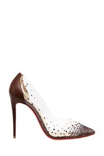 Коричневые туфли с кристаллами Degrastrass pvc 100 Christian Louboutin