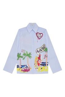 Хлопковая рубашка с разноцветным декором Mira Mikati