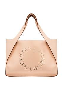 Бежевая сумка-тоут с перфорированным логотипом Stella Mc Cartney