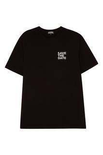 Черная футболка с контрастной вышивкой Artem Krivda
