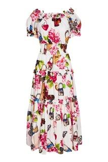 Хлопковое платье с воланами Dolce & Gabbana