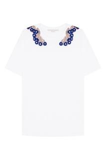 Хлопковая футболка с вышивкой пайетками Stella Mc Cartney