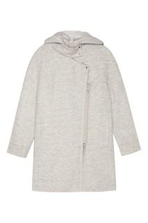 Светло-серое пальто с капюшоном Novaya