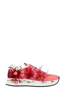 Розовые кроссовки с перьями Premiata
